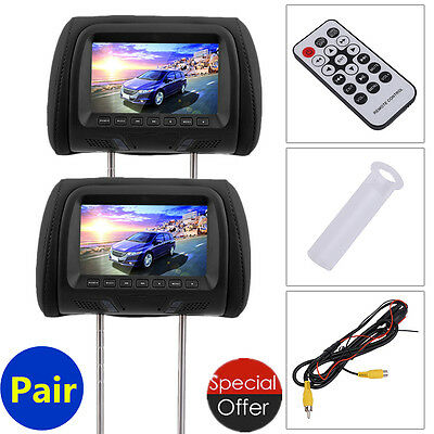 "Black 2x HDMI 7"" HD Car Headrest Monitor 1080P Pillow NO DVD Player Headsets HT"