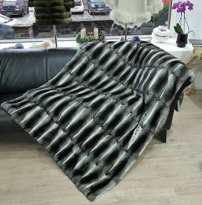 Pelzdecke Chinchilla original Blanket No Mink Real Fur Echt Pelz Zobel
