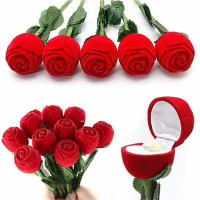 Valentine's Day Charm Rose Flower Ring Earring Necklace Case Boxes Display Pack
