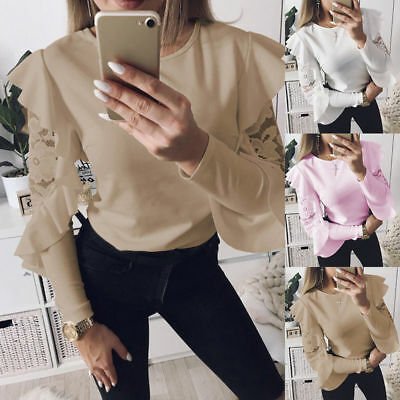 Fashion Womens Ladies Lace Ruffled Frill Long Sleeve Blouses Tee Tops T-Shirt