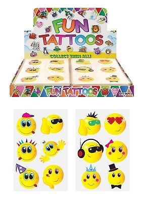 72 x SMILEY EMOJI Temporary Tattoos Kids Girls Boys Party Bag Filler Toy
