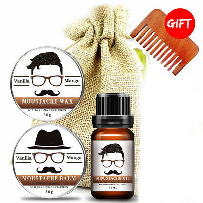 Beard Grooming Kit - Moustache Wax, Beard Balm, Oil, Comb Gift Bag 30ml set