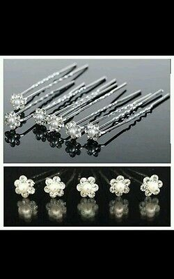 UK lot Pearl Flower Diamante Crystal Hair Pins Clips Prom Wedding Bridal Party