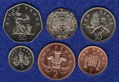 Great Britain, 1998 Coin Set, 50p - 1p, 6 Coins, Brilliant Uncirculated