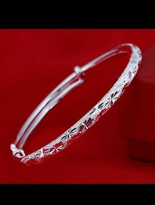 925 STERLING SILVER hot shining bangle lady girl jewellery friendship gift +bag