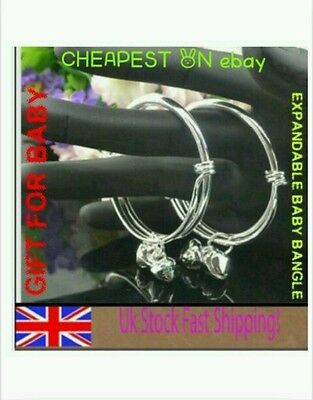 Baby Silver Christening Bangle Bracelet Adjustable Boy Girl 0-6 Years Gift +Bag