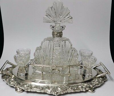 Vintage Great Liqueur Service Decanters Solid Silver Tray Marked  Christal