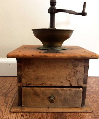Antique Primative Brass and Cast Iron Wood Coffee Mill Grinder - Large