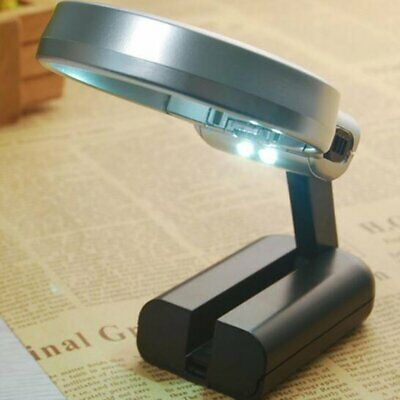 Folding Magnifying Glass with LED Light And Adjustable Folding Stand - Hands UK
