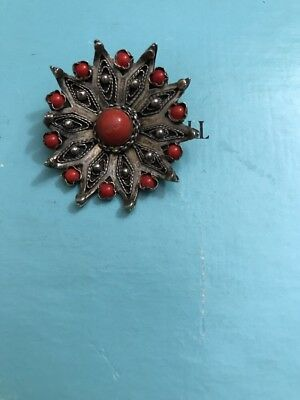 Antique Vintage 800 Silver Filigree Pin Pendant Red Coral Gorgeous