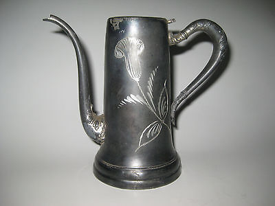 Rogers Silver Co., Quadruple, Syrup Pitcher with Etched Tulip, Antique!