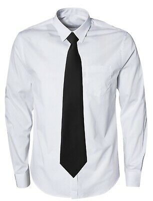 Matt Black Plain Clip On Tie Matt Black Security Guard Uniform Bouncer Clipper