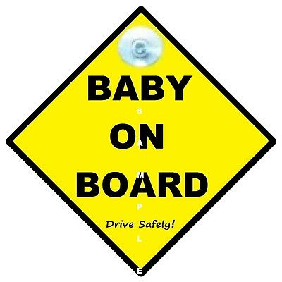 Baby On Board  - Traditional Yellow - Made In Oz - Suction Cup Fitted -Free Post