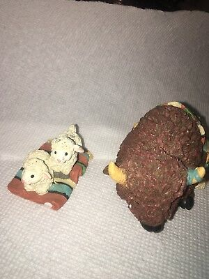 Enesco Friends of the Feather Bison Blessing Figurine 1997 & Bless Ewe
