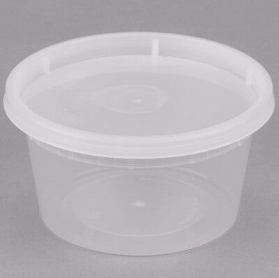 240 CASE 12 OZ Microwavable Clear Round To Go Plastic Deli Food Container & Lid