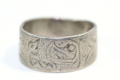 "D411 Mid Century Indian native american Sterling 925 3/8"" Band Ring Size 7 3/4"