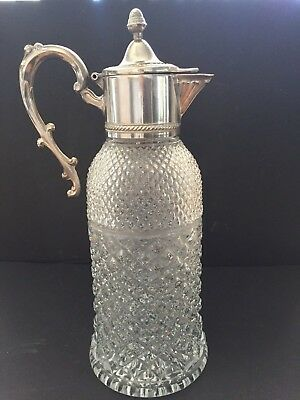 Vintage Crystal Glass &  Silver Plate Water/ Wine Decanter Made in Italy