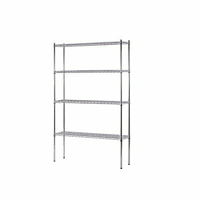 "Heavy Duty NSF Certified Chrome 4-Shelf Wire Shelving 74""H x 48""W x 12""D garage"