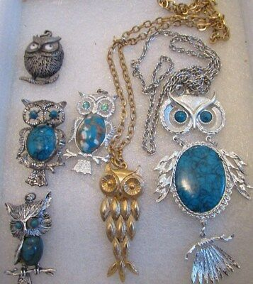 Vintage Lot Of Owls Jewelry (Pin, Nescklaces,& Pendants)Jelly Belly Style