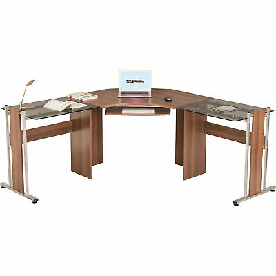 Corner Desk Large Walnut Computer Workstation for Home & Office Piranha Frigate