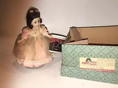 "Vtg  MADAME ALEXANDER Little Women 8"" BETH DOLL #781 Original Box Tags Bent Knee"
