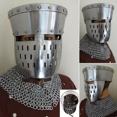 Medieval Kalota Helmet with Face Guard Ideal for Costume or Re-enactment