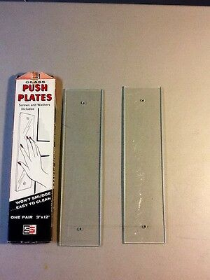 Vintage 1960's Glass Push Plates, NEW OLD STOCK In The Box! 3 x 12