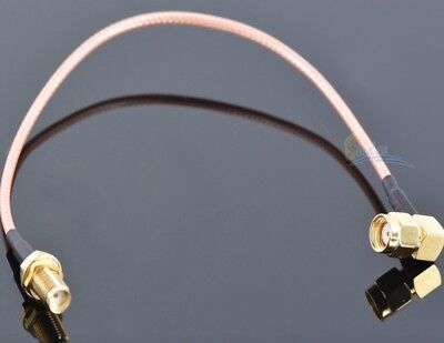 Gold Plated RP-SMA male bend to RP SMA female 50-1.5 extension cable RG316 20cm