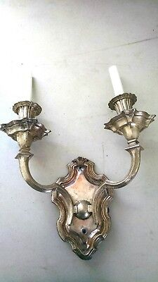 E. F. Caldwell Pair Large Silver Two-Arm Sconces, Wall Lights