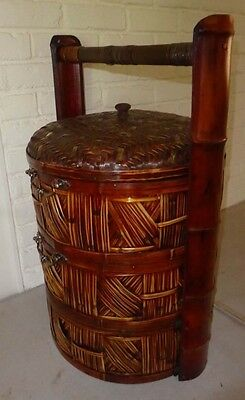 Vintage Large Chinese Wicker Rattan 3 Tier Stacked Nesting Wedding Basket Box