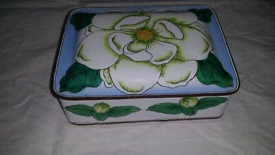 "VINTAGE ORIENTAL CHINESE JAPANESE ENAMEL OVER COPPER MAGNOLIA FLOWER BOX 6""x4"""