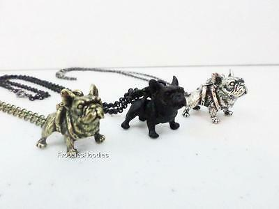 French Bulldog 3D Charm Pendant Dog Necklace Black Burnished Gold Antique Silver