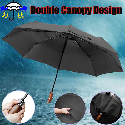 2018 Large Strong Folding Umbrella Windproof Double Canopy Design Wooden Handle