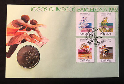Portugal 1992 Barcelona Qlympics FDC and Olympic Coin