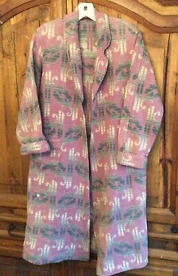 Vintage 1930's 40's BEACON Fabric Blanket Robe Great Lavender Print S-M