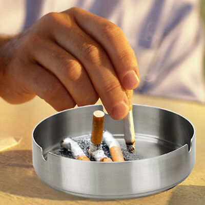 8cm MODERN METAL STAINLESS STEEL ROUND CIGARETTE ASHTRAYS FOR HOME HOUSE