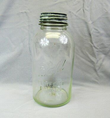 large Ball Jar vintage half gallon with lead lid # 15 clear glass antique