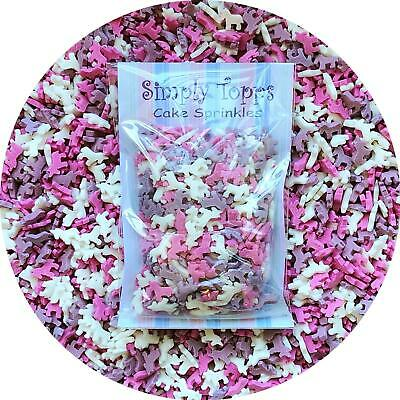 Pink White Purple Mini Unicorn Sprinkles 25g cake or cupcake decorations Edible