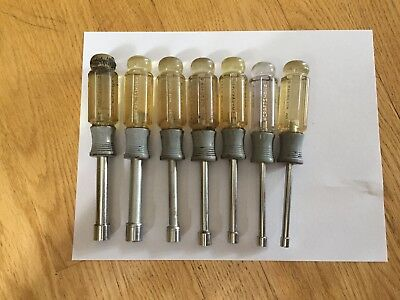 Craftsman Vintage 7 Piece Hollow Shank Metric Nut Driver Set With Case # 94197