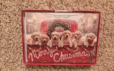 Golden Lab/Retriever Puppies & Vintage Pickup Truck Christmas/Holiday Cards-NEW