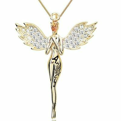 Guardian Angel Necklace With Full Crystal Pendant Necklace