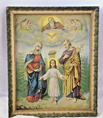 ANTIQUE ART DECO 1920's THE HOLY FAMILY JESUS MARY JOSEPH CROSS FRAMED PICTURE