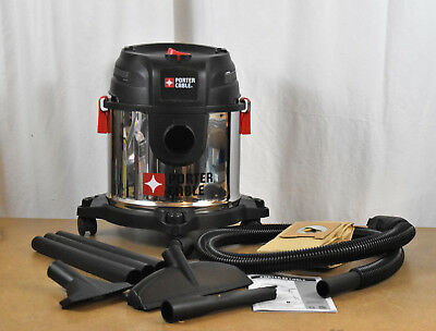 Porter Cable 4 Gallon Stainless Steel Wet/Dry Vacuum Wet Dry Shop Vac Used