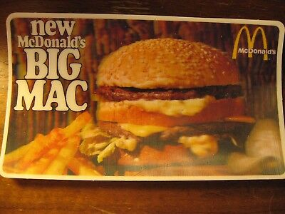 McDonald's Restaurant Vintage Rare 1967 3D Advertisement Original Card HTF!!!