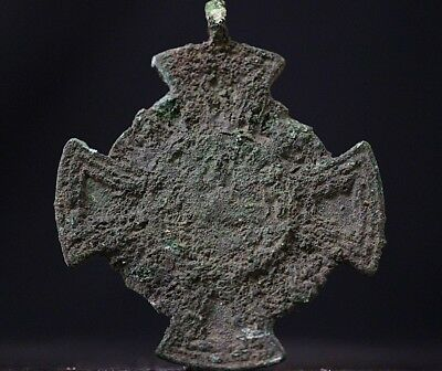 Ancient Viking Bronze Cross. Rare Norse Amulet Pendant, c 950-1000 AD. Uncleaned