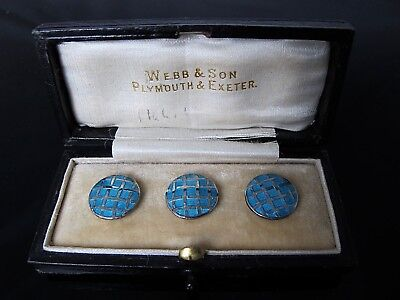 Handsome boxed set of three silver and enamel buttons, retailed Exeter c 1930