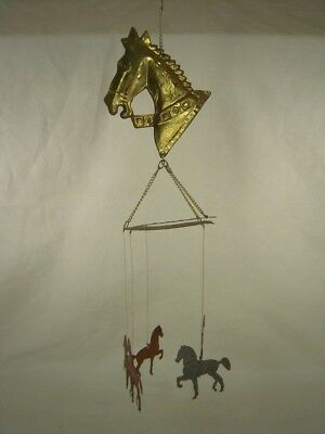 "AWESOME metal Horse Mobile / Chimes - 16½"" long x 4¾"" wide (top horse head)"