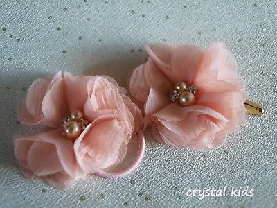 Baby Girls Peach Hair Clips Bobbles Chiffon Flower Hair Clips 2 x Hair Clips