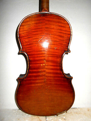 Vintage Antique Old  2 Pc. Curly Maple Back Full Size Violin - No Reserve