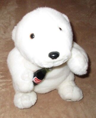 "New Coca-Cola Plush Stuffed 12"" Polar Bear w Coke Bottle NWT"